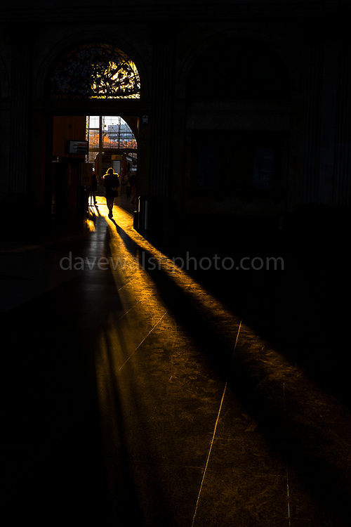 Long winter shadows fall in the entrance hall of Estació de França, railway station, Barcelona, December 2017.