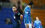St Johnstone v Hamilton Accies....016.01.16  SPFL  McDiarmid Park, Perth<br /> Ref Andrew Dallas talkes to Murray Davidson after he was fouled by Grant Gillespie<br /> Picture by Graeme Hart.<br /> Copyright Perthshire Picture Agency<br /> Tel: 01738 623350  Mobile: 07990 594431