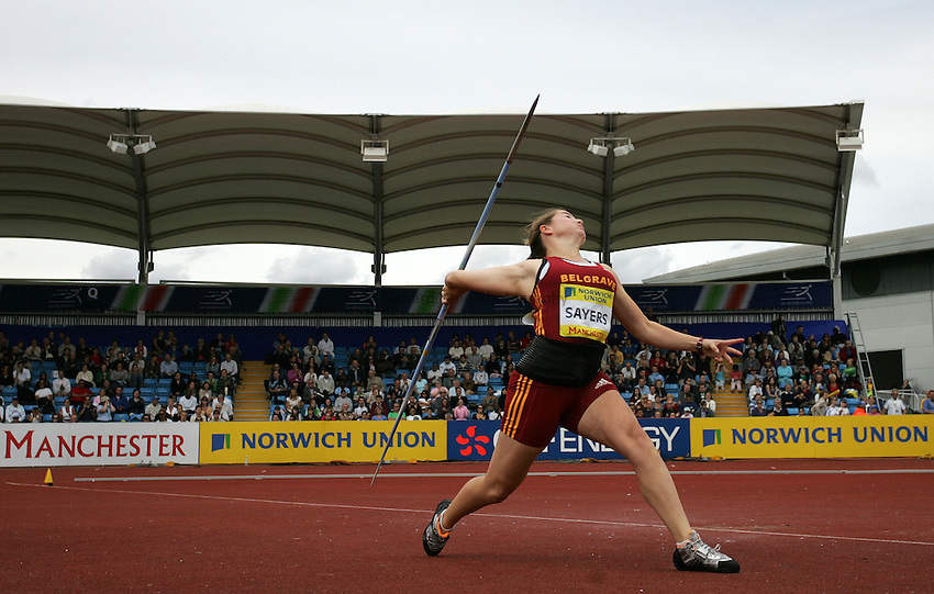 Photo: Paul Thomas/Richard Lane Photography..Norwich Union World Trials and AAA Championships. 28/07/2007...Goldie Sayers during the women's javelin.