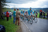 Team Astana leading the peloton up the Côte de Wanne (2200m/7.5%)<br /> <br /> 101th Liège-Bastogne-Liège 2015