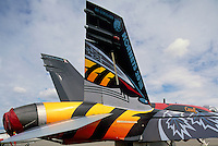 Canadian Forces Boeing CF-18 (aka F/A-18) Hornet Military Aircraft on Static Display - 20th Anniversary Special Paint Commemoration - at Abbotsford International Airshow, BC, British Columbia, Canada
