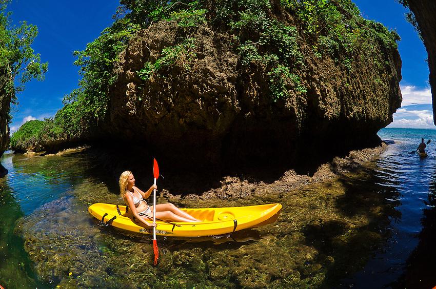 Sea kayaking in a grotto, Vatulele Island Resort, Fiji Islands