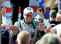 Sept. 6, 2010; Clermont, IN, USA; NHRA funny car driver John Force during driver introductions prior to the U.S. Nationals at O'Reilly Raceway Park at Indianapolis. Mandatory Credit: Mark J. Rebilas-