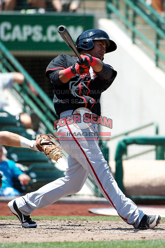 Lansing Lugnuts Andy Fermin #8 during a game against the Fort Wayne Tincaps at Parkview Field on June 27, 2012 in Fort Wayne, Indiana.  Fort Wayne defeated Lansing 3-2.  (Mike Janes/Four Seam Images)