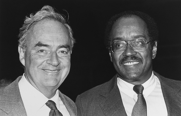 Sen. Harris Wofford, D-Pa., and Bill Gray at Toyota sponsored reception for Bill Gray, all part of the CBC weekend seminar in the Madison building Atrium on Sep. 12, 1991. (Photo by Maureen Keating/CQ Roll Call via Getty Images)