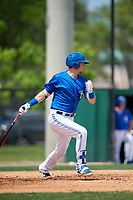 Dunedin Blue Jays first baseman Christian Williams (10) during a Florida State League game against the Clearwater Threshers on April 7, 2019 at Jack Russell Memorial Stadium in Clearwater, Florida.  Dunedin defeated Clearwater 2-1.  (Mike Janes/Four Seam Images)