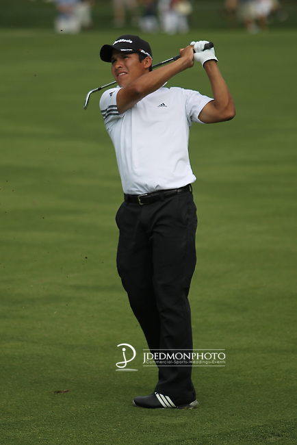 May 8,2011 - Andres Romero second shot on 18.  Lucas Glover wins the tournament in sudden death over Jonathan Byrd at Quail Hollow Country Club,Charlotte,NC.
