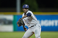 Princeton Rays relief pitcher Reimin Ramos (41) in action against the Burlington Royals at Burlington Athletic Stadium on August 12, 2016 in Burlington, North Carolina.  The Royals defeated the Rays 9-5.  (Brian Westerholt/Four Seam Images)