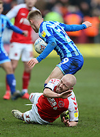 Fleetwood Town's Paddy Madden is tackled by Blackpool's Calum MacDonald<br /> <br /> Photographer Lee Parker/CameraSport<br /> <br /> The EFL Sky Bet League One - Fleetwood Town v Blackpool - Saturday 7th March 2020 - Highbury Stadium - Fleetwood<br /> <br /> World Copyright © 2020 CameraSport. All rights reserved. 43 Linden Ave. Countesthorpe. Leicester. England. LE8 5PG - Tel: +44 (0) 116 277 4147 - admin@camerasport.com - www.camerasport.com