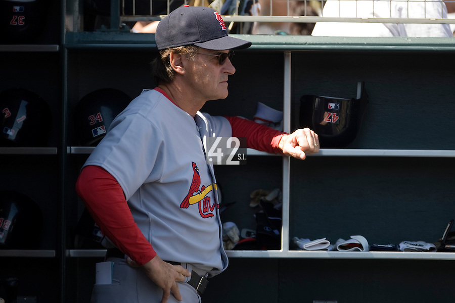 13 April 2008: Team Manager #10 Tony La Russa of the Cardinals is seen in the dugout during the San Francisco Giants 7-4 victory over the St. Louis Cardinals at the AT&T Park in San Francisco, CA.