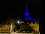 Chichester Cathedral turns blue for NHS