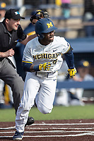 Michigan Wolverines second baseman Ako Thomas (4) hustles down the first base line against the San Jose State Spartans on March 27, 2019 in Game 1 of the NCAA baseball doubleheader at Ray Fisher Stadium in Ann Arbor, Michigan. Michigan defeated San Jose State 1-0. (Andrew Woolley/Four Seam Images)