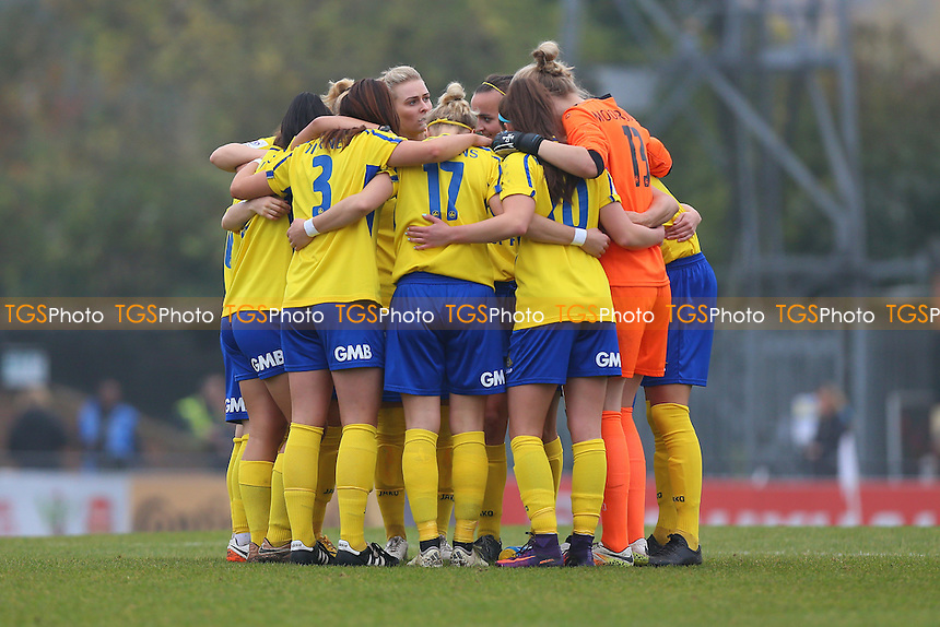 Doncaster players huddle during Arsenal Ladies vs Doncaster Rovers Belles, FA Women's Super League FA WSL1 Football at Meadow Park, Boreham Wood FC on 30th October 2016