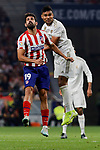 Diego Costa of Atletico de Madrid and Carlos Henrique Casimiro of Real Madrid during La Liga match between Atletico de Madrid and Real Madrid at Wanda Metropolitano Stadium in Madrid, Spain. September 28, 2019. (ALTERPHOTOS/A. Perez Meca)