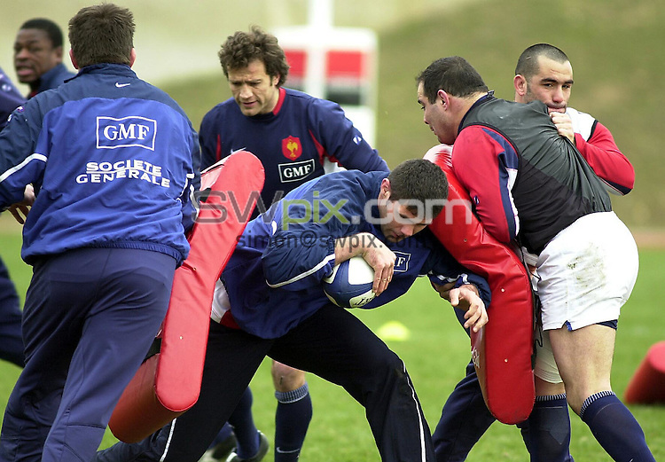 Pix: Dave Winter/SWpix.com. International Rugby Union. . France Training Paris. 20/02/2003...COPYWRIGHT PICTURE>>SIMON WILKINSON>>01943 436649>>..France's David Auradou during training ahead of the game against Scotland.