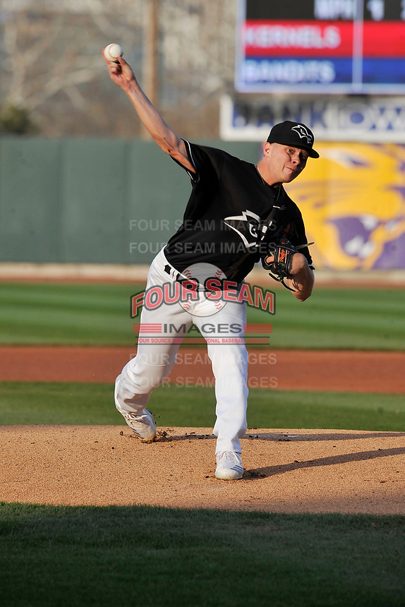 Quad Cities River Bandits starting pitcher Austin Hansen (38) throws a pitch against the Cedar Rapids Kernels at Veterans Memorial Stadium on April 16, 2019 in Cedar Rapids, Iowa.  The Kernels won 11-2.  (Dennis Hubbard/Four Seam Images)