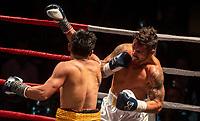 Bowyn Morgan v Jack Asis WBU welterweight world championship fight at Christchurch Boys' High School auditorium in Christchurch, New Zealand on Saturday, 18 May 2019. Photo: Joe Johnson / lintottphoto.co.nz