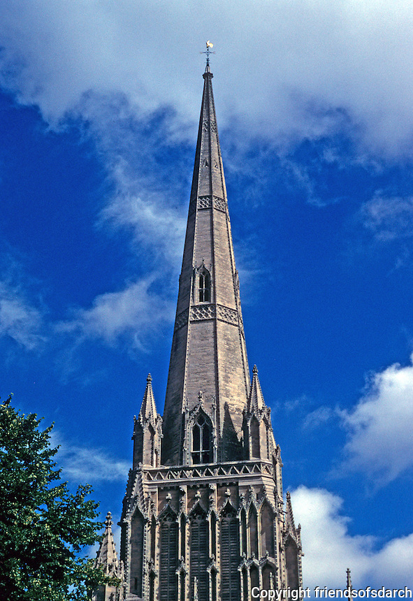 Bristol: St. Mary Redcliffe, spire. Photo '90.