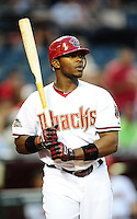 Apr. 12, 2011; Phoenix, AZ, USA; Arizona Diamondbacks outfielder Justin Upton against the St. Louis Cardinals at Chase Field. Mandatory Credit: Mark J. Rebilas-