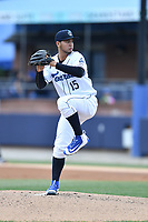 Asheville Tourists starting pitcher Alejandro Requena (15) delivers a pitch during a game against the Greensboro Grasshoppers at McCormick Field on April 30, 2017 in Asheville, North Carolina. The Grasshoppers defeated the Tourists 7-0. (Tony Farlow/Four Seam Images)