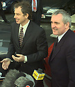 British Prime Minster Tony Blair (left) watches helicopters leave Stormont while Irish Prime Minster Berti Ahern answers media question, Thursday, April 9, 1998, on there arrival at Stormont Castle Buildings, Belfast. The Talks are due to end tonight. (AP Photo/Paul McErlane)