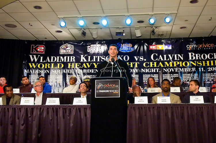 Wladimir Klitschko addresses the audience during the press conference for his IBF/IBO Heavyweight Championship fight against Calvin Brock at Madison Square Garden, in N.Y.C. on 11.08.06..The fight will take place at MSG on 11.11.06<br />