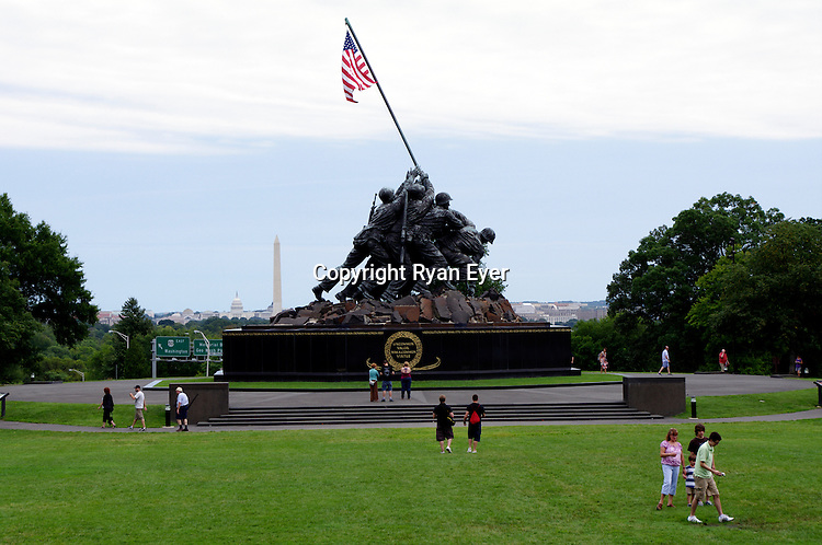 WASHINTON, DC - 14 August 2010 - The Marine Corps War Memorial (also called the Iwo Jima Memorial) is a military memorial statue outside the walls of the Arlington National Cemetery and next to the Netherlands Carillon, in Arlington, Virginia, in the United States, south of Washington DC. The memorial is dedicated to all personnel of the United States Marine Corps who have died in the defense of their country since 1775. The design of the massive sculpture by Felix de Weldon was based on the iconic photo Raising the Flag on Iwo Jima, taken during the Battle of Iwo Jima by Associated Press photographer Joe Rosenthal. The memorial features the Marines and Sailor who raised the second flag over Iwo Jima.Picture: Ryan Eyer/Allied Picture Press