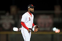 Scottsdale Scorpions shortstop Alfredo Rodriguez (3), of the Cincinnati Reds organization, during an Arizona Fall League game against the Mesa Solar Sox on October 9, 2018 at Scottsdale Stadium in Scottsdale, Arizona. The Solar Sox defeated the Scorpions 4-3. (Zachary Lucy/Four Seam Images)
