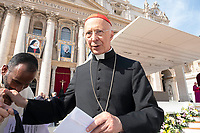 Vatican City, October 13, 2019. Cardinal Angelo Bagnasco attends a canonization Mass in St. Peter's Square at the Vatican. Pope Francis on Sunday canonized Cardinal John Henry Newman, the 19th-century Anglican convert who became an immensely influential, unifying figure in both the Anglican and Catholic churches. Francis presided over Mass on Sunday in a packed St. Peter's Square to declare Newman and four women saints. (Antonello Nusca/BuenavistaPhoto)