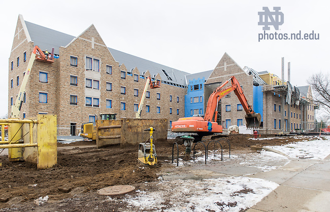 Dec. 30, 2015; Flaherty Hall dorm construction. (Photo by Barbara Johnston/University of Notre Dame)