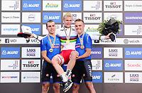 Picture by Simon Wilkinson/SWpix.com - 23/09/2017 - Cycling UCI 2017 Road World Championships Bergen Norway - Road Race <br /> Mens Junior- winner and rainbow jersey - JOHANSEN Julius - RASTELLI Luca, GAZZOLI Michele