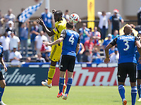 Santa Clara, California - Saturday, April 13, 2014: The San Jose Earthquakes and Columbus Crew played to a 1-1 tie during a Major League Soccer (MLS) match at Buck Shaw stadium.