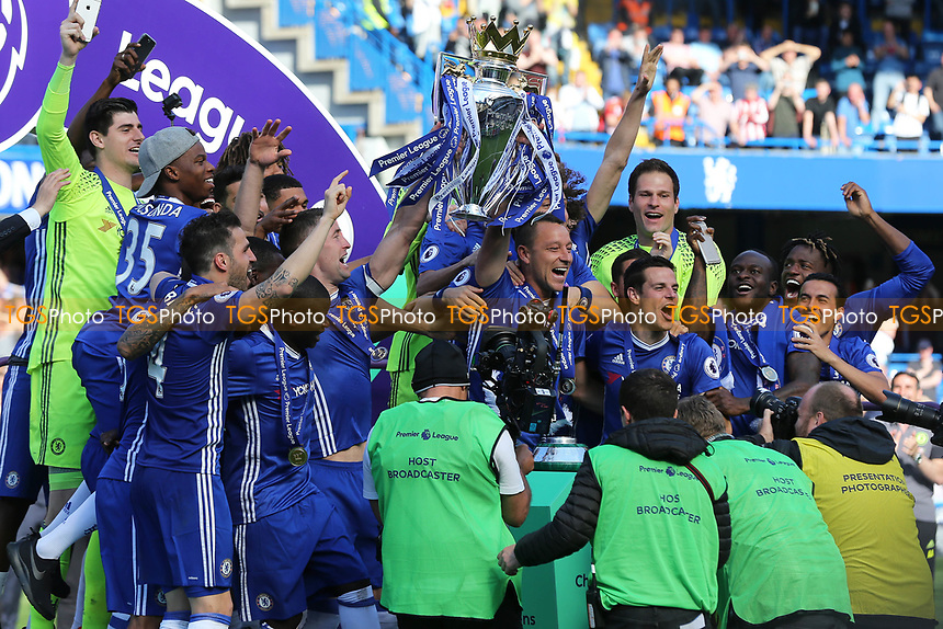 John Terry of Chelsea celebrates winning the Premier League during Chelsea vs Sunderland AFC, Premier League Football at Stamford Bridge on 21st May 2017