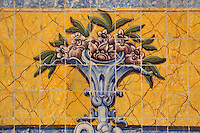 Painted floral design on the tiles in the refectory, built 1517-18 by Leonardo Vaz, with azulejos tiles added 1780-85, of the Jeronimos Monastery or Hieronymites Monastery, a monastery of the Order of St Jerome, built in the 16th century in Late Gothic Manueline style, Belem, Lisbon, Portugal. The monastery is listed as a UNESCO World Heritage Site. Picture by Manuel Cohen