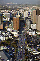 aerial photograph rush hour traffic downtown Los Angeles, California