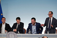 Luigi Di Maio, Giuseppe Conte, Matteo Salvini e Giovanni Tria<br /> Roma 15/10/2018. Consiglio dei Ministri sulla Manovra Economica DEF.<br /> Rome October 15th 2018. Minister's Cabinet about the Economic and Financial Document.<br /> Foto Samantha Zucchi Insidefoto