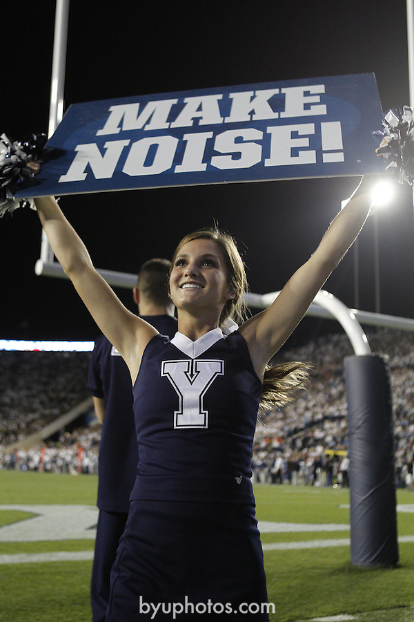 12FTB vs Hawaii 1776<br /> <br /> 12FTB vs Hawaii, Cheerleaders smiling, holding &quot;make noise!&quot; sign, Spirit Squad, Football Field, LVES LaVell Edwards Stadium<br /> <br /> BYU-47<br /> Hawaii-0<br /> <br /> Photo by Bella Torgerson/BYU<br /> <br /> September 28, 2012<br /> <br /> &copy; BYU PHOTO 2012<br /> All Rights Reserved<br /> photo@byu.edu  (801)422-7322