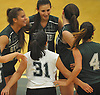Seaford No. 16 Sophie Dandola, far left, and teammates celebrate as they close in on a hard-fought victory in the second set of the Nassau County varsity girls' volleyball Class B final against Lynbrook at SUNY Old Westbury on Wednesday, Nov. 11, 2015. Seaford won 25-18, 26-24, 25-20 to claim the county championship.<br /> <br /> James Escher