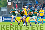 Stephen O'Brien Kerry in action against Cian O Dea Clare during the Munster Senior Football Semi Final between Kerry and Clare at Ennis on Saturday night.