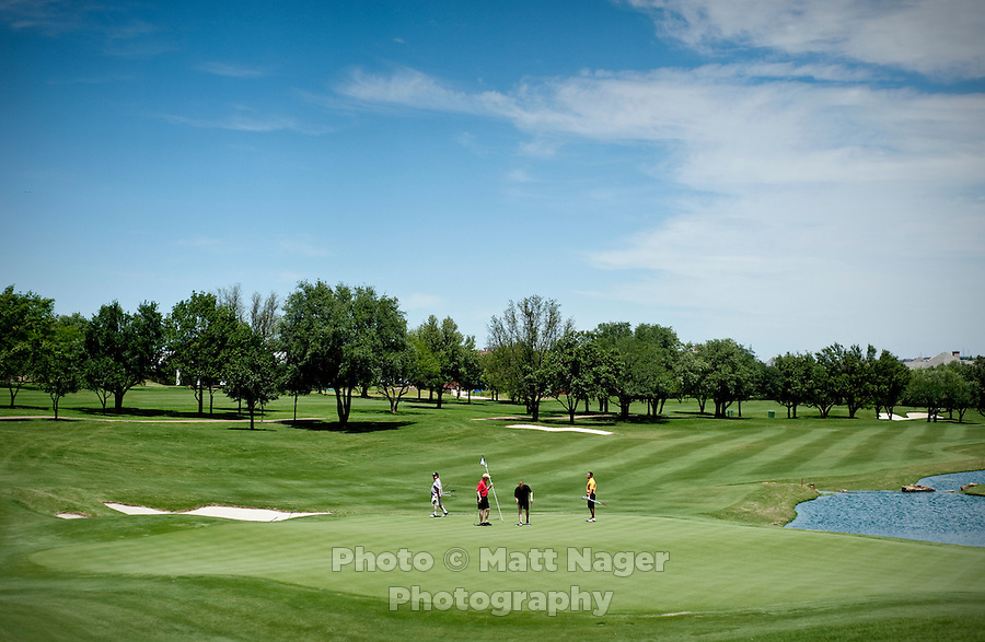 A view of the 18th green on the golf course at the Four Seasons Resort and Spa in Irving, Texas, Sunday, May 2, 2010. Four Seasons couldn't abstain from cost cutting in this downturn as it had in previous recessions because the worst hotel market in decades left the company last year with a 26% decline in revenue per available room in the U.S. Similarly, its occupancy fell to 57% from its usual perch above 70%...CREDIT: Matt Nager for The Wall Street Journal
