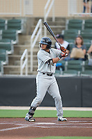Jay Gonzalez (1) of the Delmarva Shorebirds at bat against the Kannapolis Intimidators at CMC-Northeast Stadium on June 4, 2015 in Kannapolis, North Carolina.  The Shorebirds defeated the Intimidators 8-2.  (Brian Westerholt/Four Seam Images)