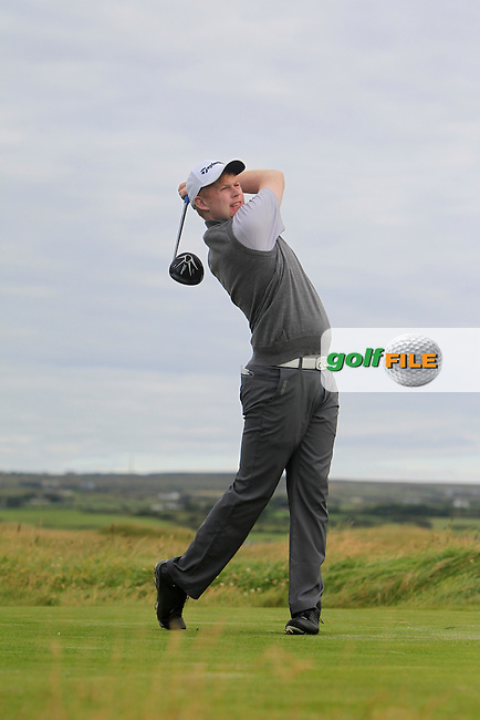 Eanna Griffin (Waterford) on the 2nd tee during Matchplay Round 1 of the South of Ireland Amateur Open Championship at LaHinch Golf Club on Friday 24th July 2015.<br /> Picture:  Golffile | Thos Caffrey