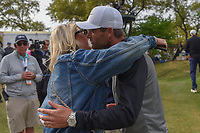 Lucas Bjerregaard (DEN) rushes to hug his fiancee, Henriette near the green on 18 after defeating Tiger Woods (USA) during day 4 of the WGC Dell Match Play, at the Austin Country Club, Austin, Texas, USA. 3/30/2019.<br /> Picture: Golffile | Ken Murray<br /> <br /> <br /> All photo usage must carry mandatory copyright credit (© Golffile | Ken Murray)