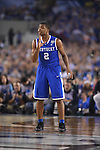 07 April 2014: Aaron Harrison (2) of the University of Kentucky instructs teammates against the University of Connecticut during the 2014 NCAA Men's DI Basketball Final Four Championship at AT&T Stadium in Arlington, TX. Connecticut defeated Kentucky 60-54 to win the national title. Peter Lockley/NCAA Photos