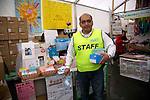 """Minamisanriku, Miyagi, Japan - A Peruvian Felix Takeda, one of the leaders of the group """"Todos con Japon,"""" at Minamisanriku Volunteer Center, one year after the tsunami. The Latin group of volunteers """"Todos con Japon"""" visits Miyagi area during this Golden Week."""