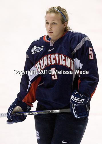 Casey Knajdek (UConn - 5) - The University of Connecticut Huskies defeated the Northeastern University Huskies 4-1 in Hockey East quarterfinal play on Saturday, February 27, 2010, at Matthews Arena in Boston, Massachusetts.
