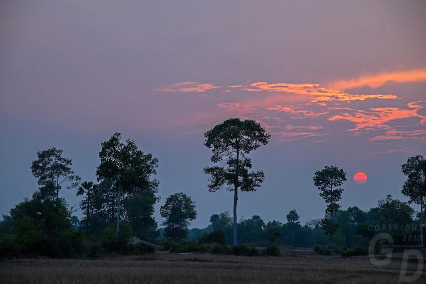 A moody sunset near Phnom Penh rural area, Cambodia