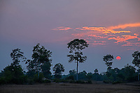 A moody sunset near Phnom Penh rural area, Cambodia