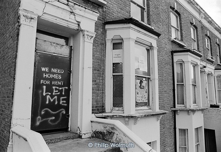 The Westminster 'Homes for Votes' scandal<br /> Graffiti on a Sitex door sealing up an empty property on Westminster City Council's Walterton Estate. Similar doors were used across the borough to seal up properties under the illegal 'Designated Sales' policy of Council Leader Dame Shirley Porter.