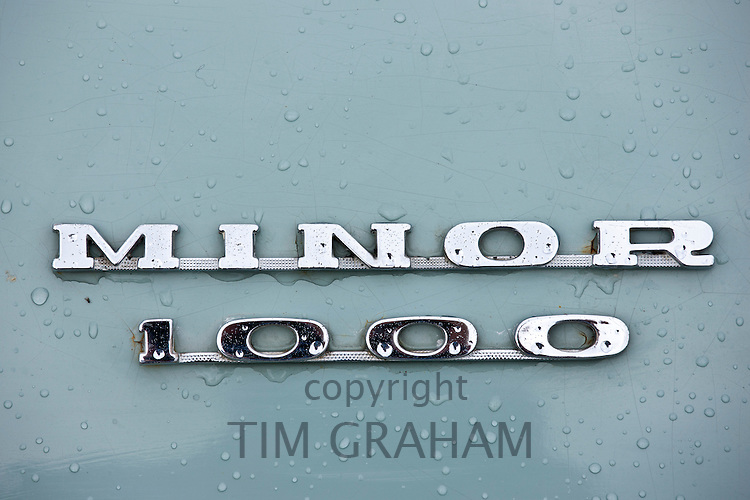 Morris Minor 1000 car at classic car rally at Brize Norton in Oxfordshire, UK